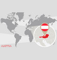 world map with magnified austria vector image vector image