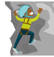 young black man climbing on a rock vector image