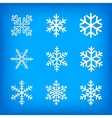 white snowflakes on blue background vector image