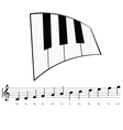piano with music notes icon vector image