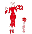 Lady in long red gown with red roses goes away vector image