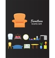 Set icons furniture isolated from background vector image