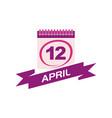 12 april calendar with ribbon vector image