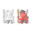 anchor with octopus cartoon character coloration vector image
