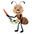 ant holding color palette on white background vector image vector image