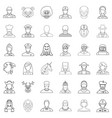 avatar icons set outline style vector image vector image