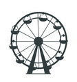 black silhouette of ferris wheel with lots of cabs vector image
