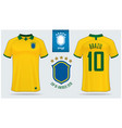 brazil soccer jersey or football kit mockup vector image