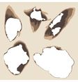 burnt holes in paper vector image vector image