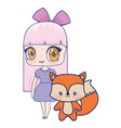 cute smiling anime girl fox baby vector image vector image