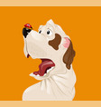 dog scared of a ladybug funny cartoon vector image