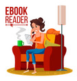 e-book reader girl online library using vector image