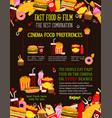 fast food cinema bistro menu poster vector image