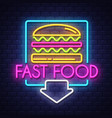 fast food- neon sign on brick wall background vector image