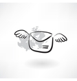 Flying envelope grunge icon