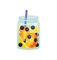 fruit detox water in transparent glass jar with vector image vector image