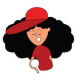 girl with red cap on white background vector image vector image