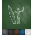 girl with surfboard icon Hand drawn vector image