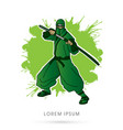 green ninja and sword vector image