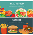 healthy food and fast food concept banner vector image