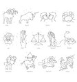 horoscope all zodiac animals in constellation vector image