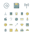 icons thin blue interface ui vector image