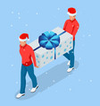 isometric online christmas shopping delivery man vector image vector image