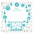 Laptop Computer with Social Network Icons Frame vector image vector image