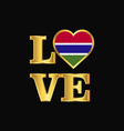 love typography gambia flag design gold lettering vector image vector image