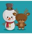 merry christmas characters kawaii style vector image