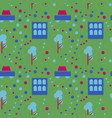 neighborhood life seamless pattern vector image