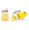 Opposite adjectives with inside and outside vector image vector image