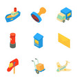 postal delivery icons set isometric style vector image vector image