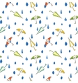 Rain drops and umbrella seamless pattern Hand vector image vector image