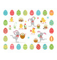 set easter cartoon characters and holidays design vector image