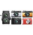 Set of vintage cameras vector image vector image