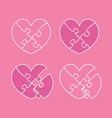 set pink pieces puzzle hearts jigsaw valentine day vector image vector image