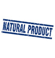 square grunge blue natural product stamp vector image vector image