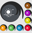 sunset icon sign Symbols on eight colored buttons vector image vector image