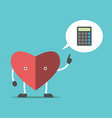 thinking heart with calculator vector image vector image