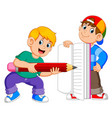 two boy is holding big book and big pencil vector image