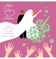 Wedding couple bride throws her wedding bouquet vector image vector image