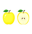 whole yellow apple and half apple slice vector image