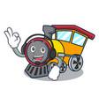 with headphone train mascot cartoon style vector image