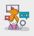 woman social network media connection vector image vector image