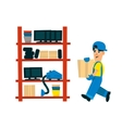 Worker Bringing Box To Store On The Shelf vector image vector image