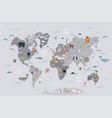 World map with wild animals