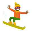 young black man riding a snowboard vector image vector image