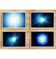 set of blue flares on wooden background vector image