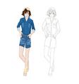 Girl Denim Fashion Asian Color No 2 vector image